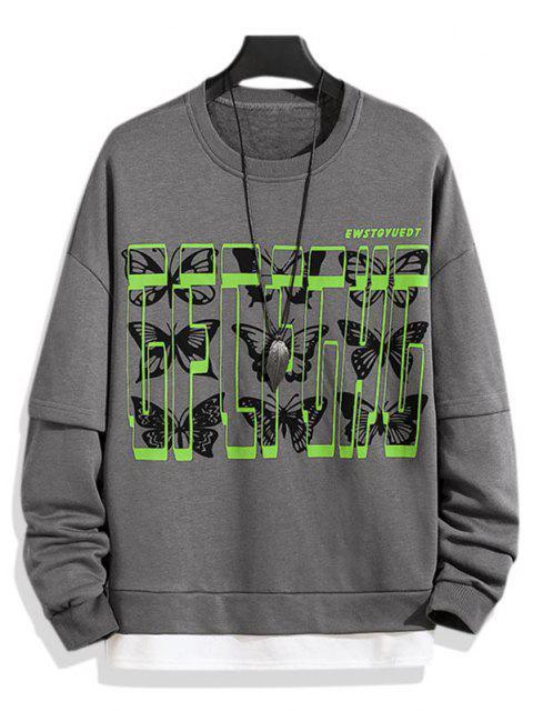 sale Letter Butterfly Drop Shoulder Faux Twinset Sweatshirt - BATTLESHIP GRAY 3XL Mobile