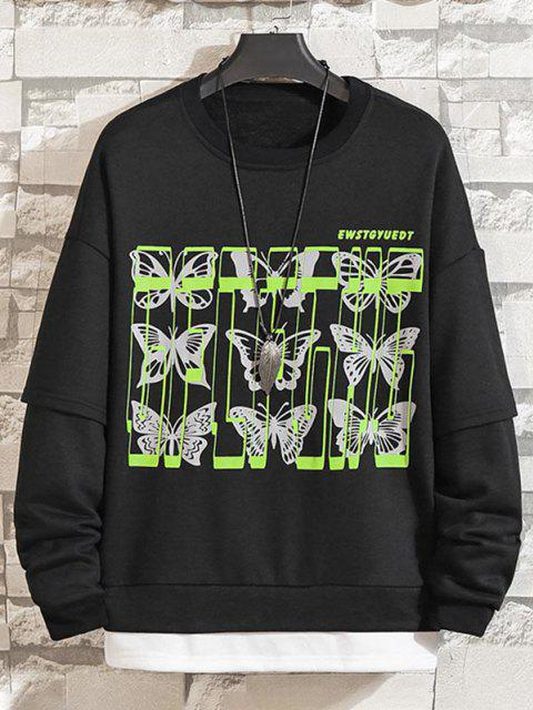 women's Letter Butterfly Drop Shoulder Faux Twinset Sweatshirt - BLACK L Mobile