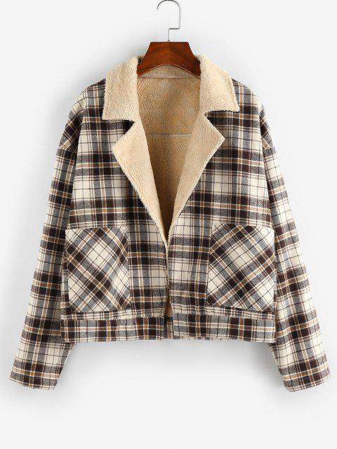 ZAFUL Plaid Pocket Drop Shoulder Fleece Lined Coat - ضوء الكاكي M Mobile