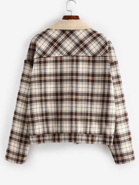ZAFUL Plaid Pocket Drop Shoulder Fleece Lined Coat - ضوء الكاكي S Mobile