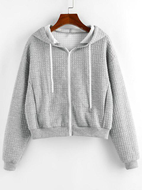trendy ZAFUL Textured Drop Shoulder Pocket Zip Hoodie - GRAY GOOSE S Mobile