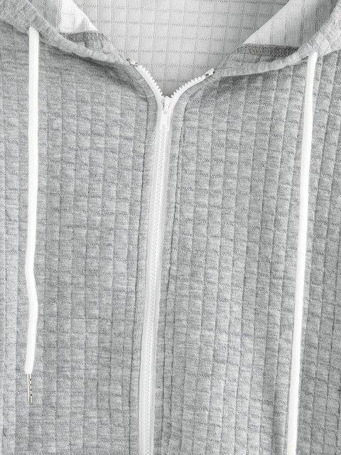 sale ZAFUL Textured Drop Shoulder Pocket Zip Hoodie - GRAY GOOSE XL Mobile