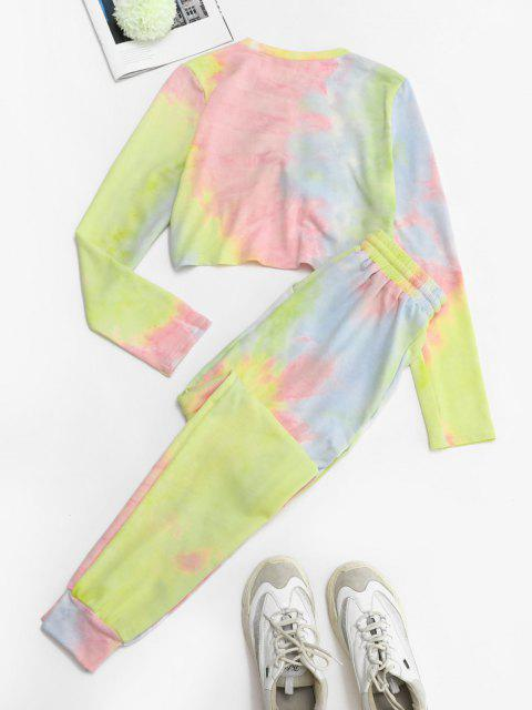 fashion Twisted Front Tie Dye Two Piece Sweat Suit - LIGHT PINK S Mobile
