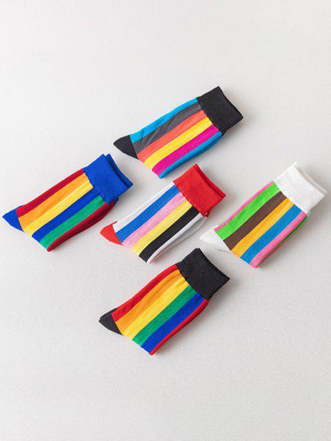 shop 5 Pairs Colorblock Stripes Print Socks Set - MULTI-A  Mobile
