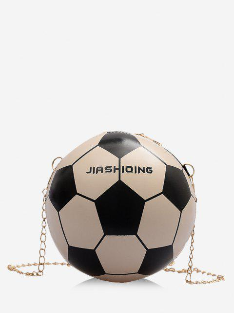 women Round Soccer Shape Chain Crossbody Bag - MILK WHITE  Mobile