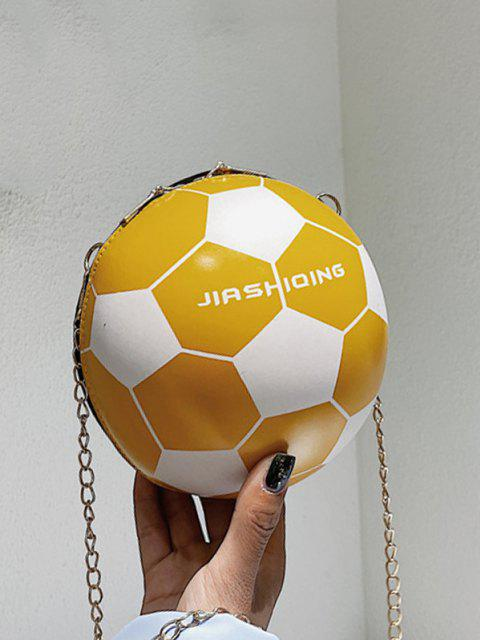Round Soccer Shape Chain Crossbody Bag - نحلة صفراء  Mobile