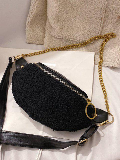 outfits Teddy Faux Fur Panel Crossbody Bag - BLACK  Mobile