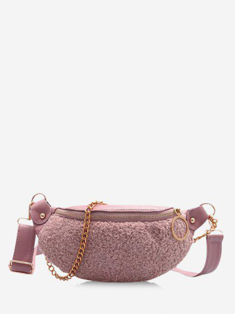 Teddy Faux Fur Panel Crossbody Bag - خنزير وردي  Mobile