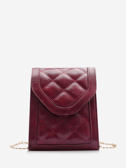 trendy Rectangle Quilted Chain Crossbody Bag - CHERRY RED  Mobile