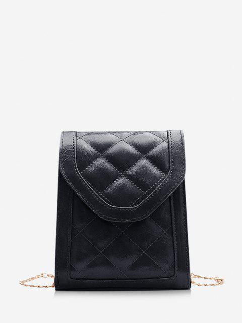 Rectangle Quilted Chain Crossbody Bag - أسود  Mobile