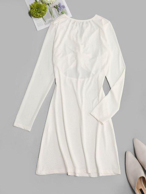 trendy Ribbed Cut Out Twisted Front Long Sleeve Dress - WHITE L Mobile