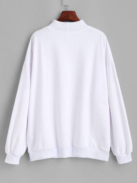 Mock Neck Letter Graphic Oversize Sweatshirt - أبيض XL Mobile