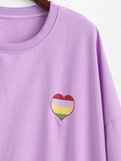 chic Oversize Colorful Heart Letter Embroidered Sweatshirt - PURPLE DAFFODIL L Mobile