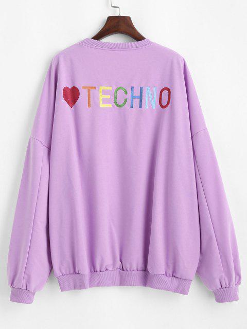 Oversize Colorful Heart Letter Embroidered Sweatshirt - الأرجواني النرجس البري L Mobile
