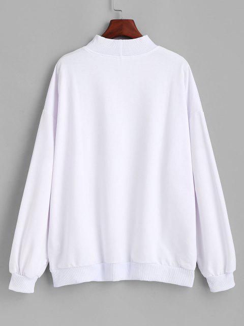Mock Neck Letter Graphic Oversize Sweatshirt - أبيض M Mobile