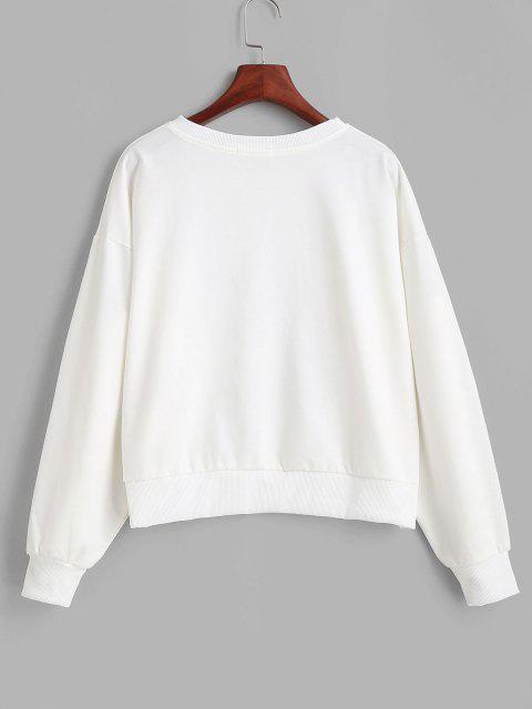 new Funny Duck Graphic Crew Neck Sweatshirt - WHITE L Mobile