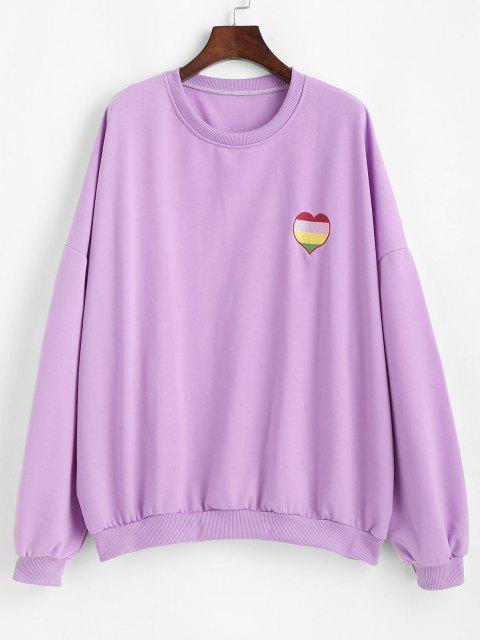 hot Oversize Colorful Heart Letter Embroidered Sweatshirt - PURPLE DAFFODIL M Mobile