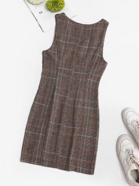 latest Plaid Zip Up Mini Pinafore Dress - COFFEE L Mobile