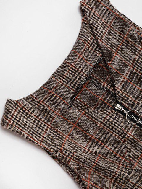 latest Plaid Zip Up Mini Pinafore Dress - COFFEE L Mobile