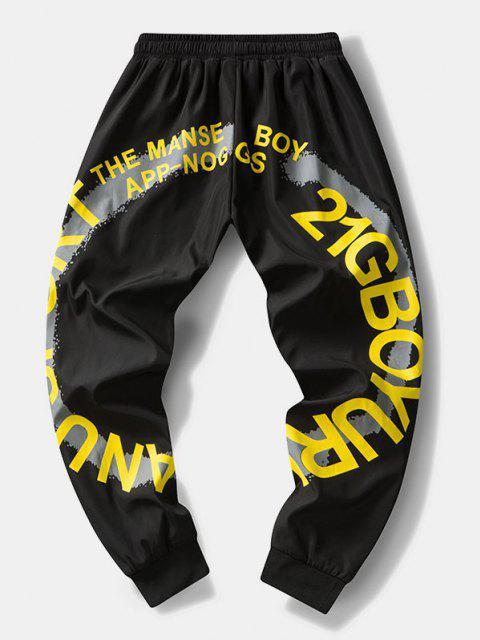 Pantalones Rayados Estampado Letras - Negro XS Mobile