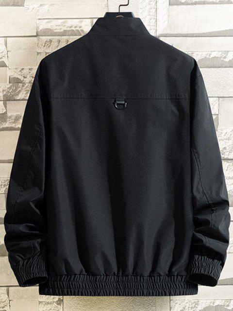 womens Skull Letter Patch Flap Pocket Jacket - BLACK L Mobile