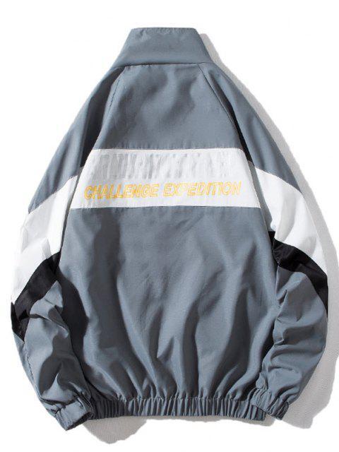 women Around Corner Graphic Colorblock Windbreaker Jacket - GRAY XL Mobile