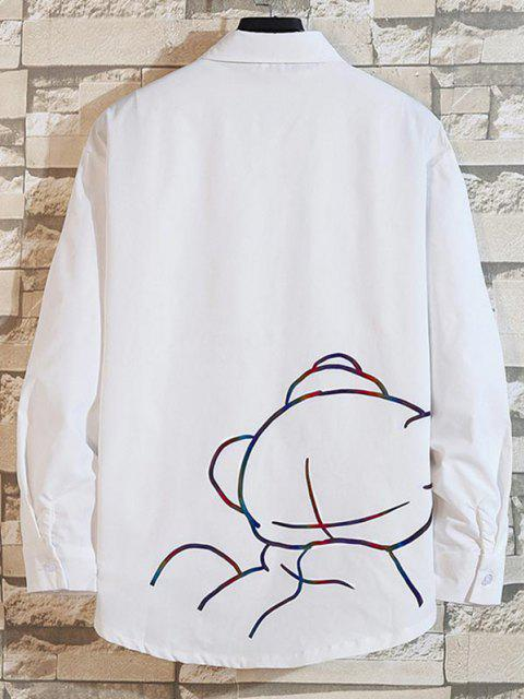 online Reflective Cartoon Pig Letter Print Long Sleeve Shirt - WHITE 3XL Mobile
