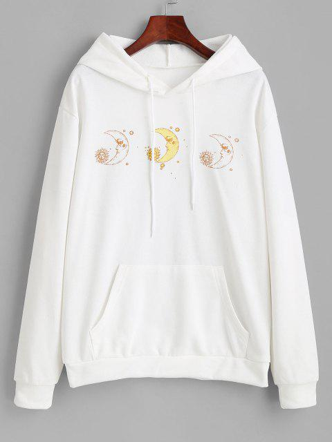 latest Moon and Sun French Terry Pocket Hoodie - WHITE L Mobile