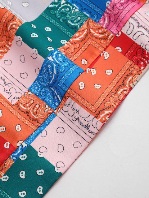 shops Drawstring Bandana Paisley Printed Hoodie - RED XL Mobile