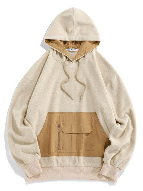 buy ZAFUL Fleece Colorblock Front Pocket Patch Hoodie - LIGHT COFFEE M Mobile