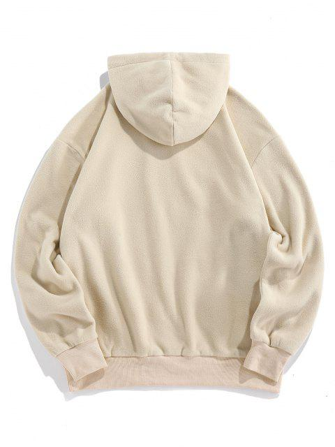 womens ZAFUL Fleece Colorblock Front Pocket Patch Hoodie - LIGHT COFFEE L Mobile