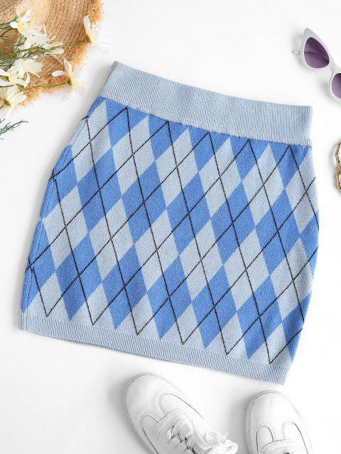 affordable Argyle Knit Slinky Skirt - BLUE M Mobile