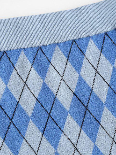 hot Argyle Knit Slinky Skirt - BLUE L Mobile