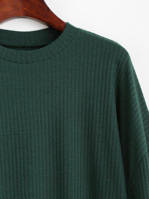 latest Crewneck Rib-knit Shift Dress - GREEN M Mobile