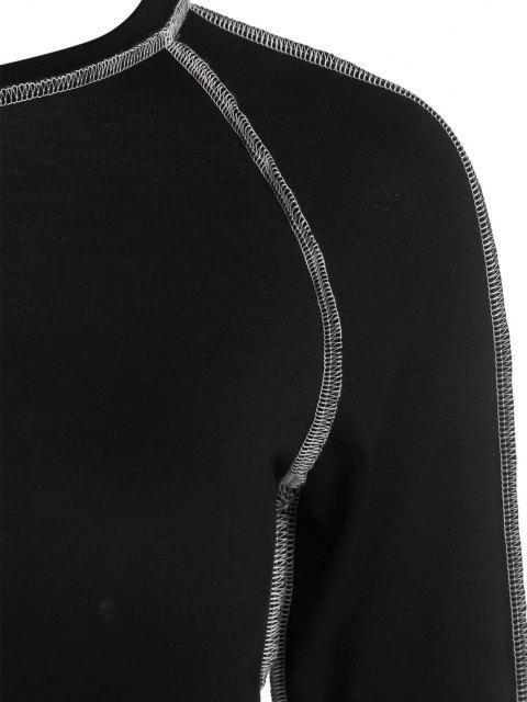 outfit ZAFUL Topstitching Raglan Sleeve Crop T Shirt - BLACK S Mobile