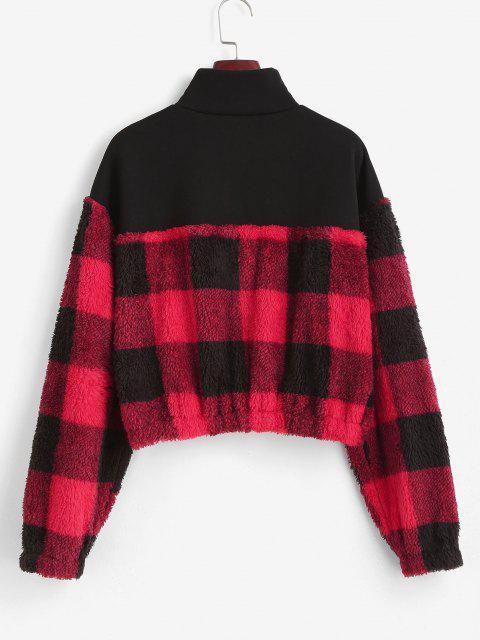 ZAFUL Plaid Patchwork Plush Sweatshirt - أسود XL Mobile