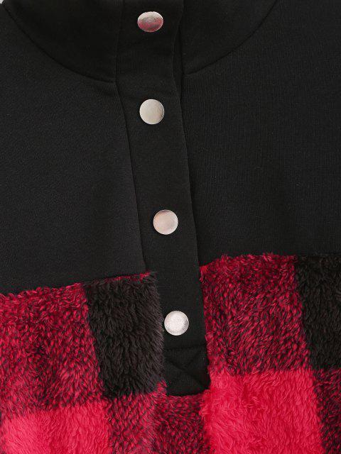 best ZAFUL Plaid Patchwork Plush Sweatshirt - BLACK L Mobile