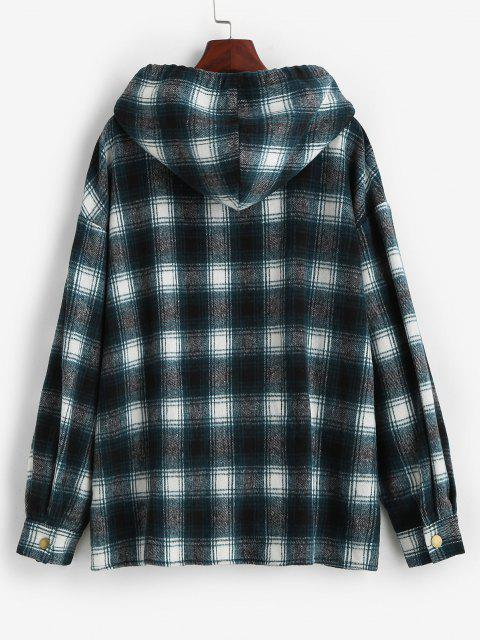 ZAFUL Faux Fur Hood Drawstring Plaid Shacket - أزرق M Mobile