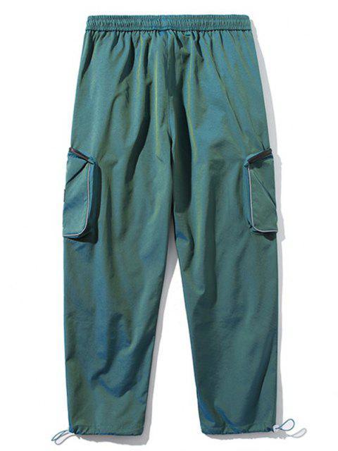 Pantalones de Carga con Bolsillo Lateral con Detalle de Applique - Verde Oscuro M Mobile