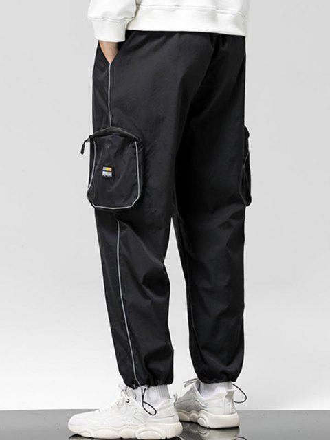Pantalones de Carga con Bolsillo Lateral con Detalle de Applique - Negro M Mobile