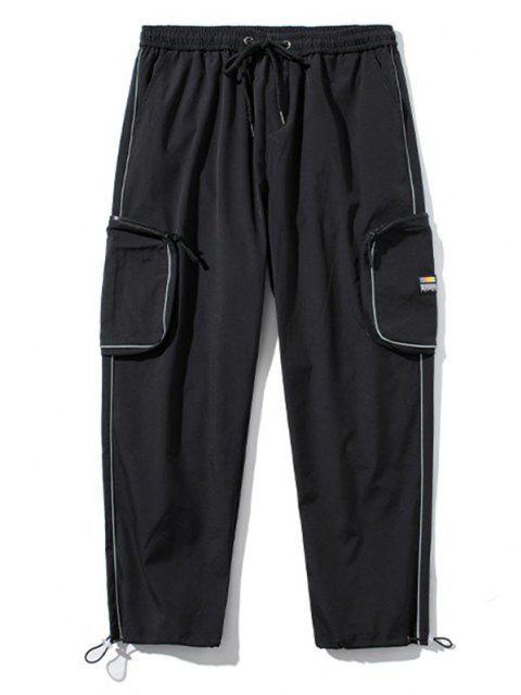 Pantalones de Carga con Bolsillo Lateral con Detalle de Applique - Negro XS Mobile