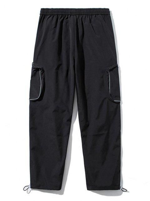 Pantalones de Carga con Bolsillo Lateral con Detalle de Applique - Negro S Mobile