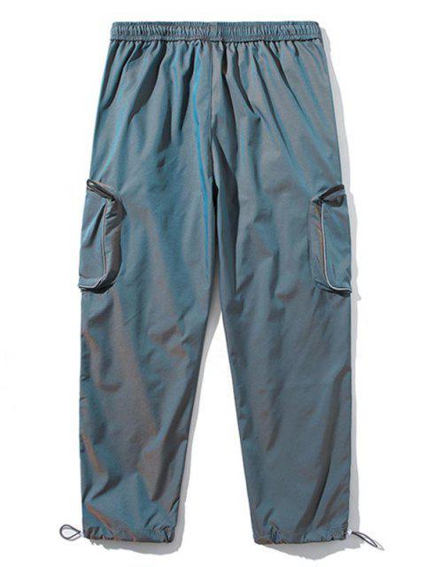 Applique Detail Seitliche Taschen Cargo Hose - Blau S Mobile