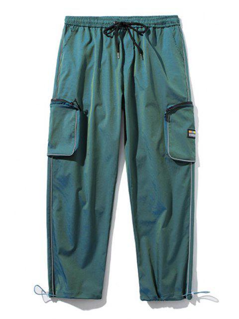Applique Detail Seitliche Taschen Cargo Hose - Dunkelgrün XL Mobile