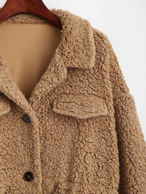 ZAFUL Abrigo Teddy de Piel Sintética con Cordón - Camel Marrón XL Mobile