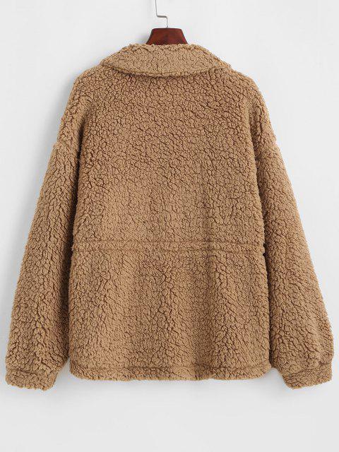 ZAFUL Faux Fur Drawstring Teddy Coat - الجمل الجمل XL Mobile