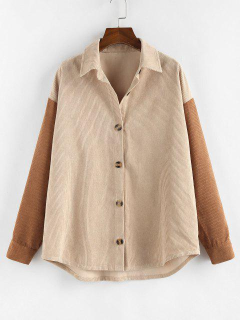 lady ZAFUL Corduroy Drop Shoulder Two Tone Shirt Jacket - MULTI-A S Mobile
