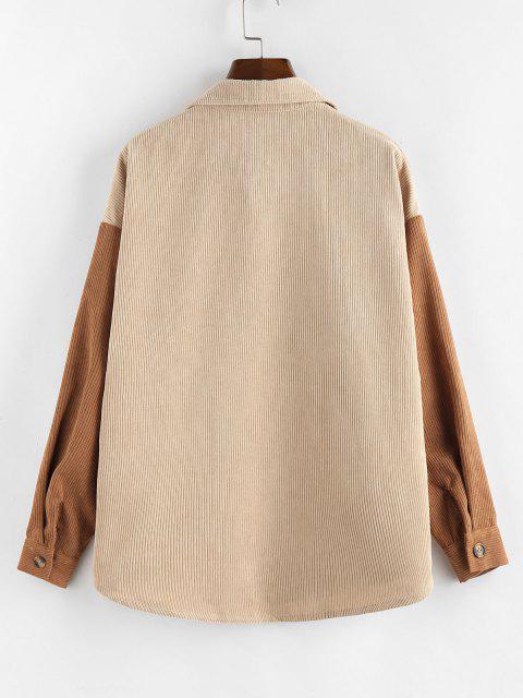 ZAFUL Corduroy Drop Shoulder Two Tone Shirt Jacket - متعددة-A L Mobile