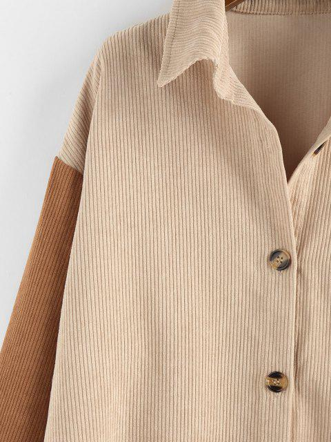 outfit ZAFUL Corduroy Drop Shoulder Two Tone Shirt Jacket - MULTI-A L Mobile