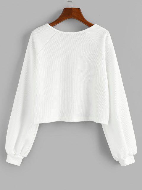 ZAFUL Raglan Sleeve Marled Pullover Sweatshirt - أبيض L Mobile